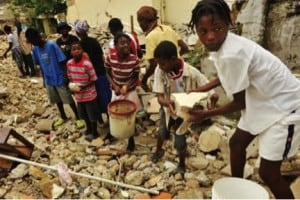 In Haiti, clearing the rubble after the 2010 earthquake.
